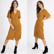 MUSTARD STRIPED BUTTON FRONT DRESS BNWT SIZES UK 8, 10, 12, 14